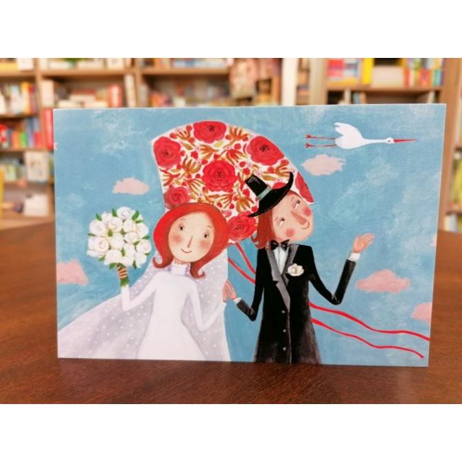 Szimonidesz Hajni képeslap - Eskövői pár