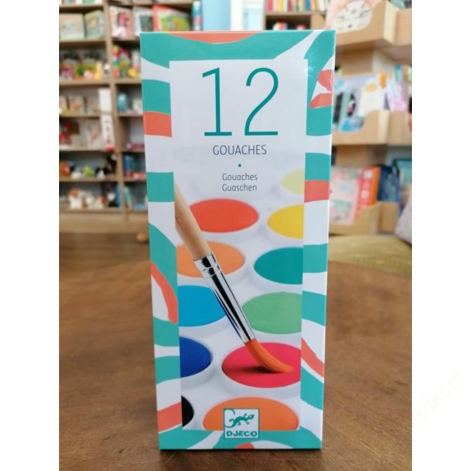 Gouache festék - 12 klasszikus szín - 12 couleurs gouache
