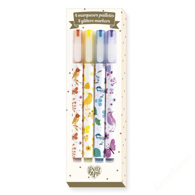 Csillám filctoll, 4 szín - 4 Tinou glitter markers