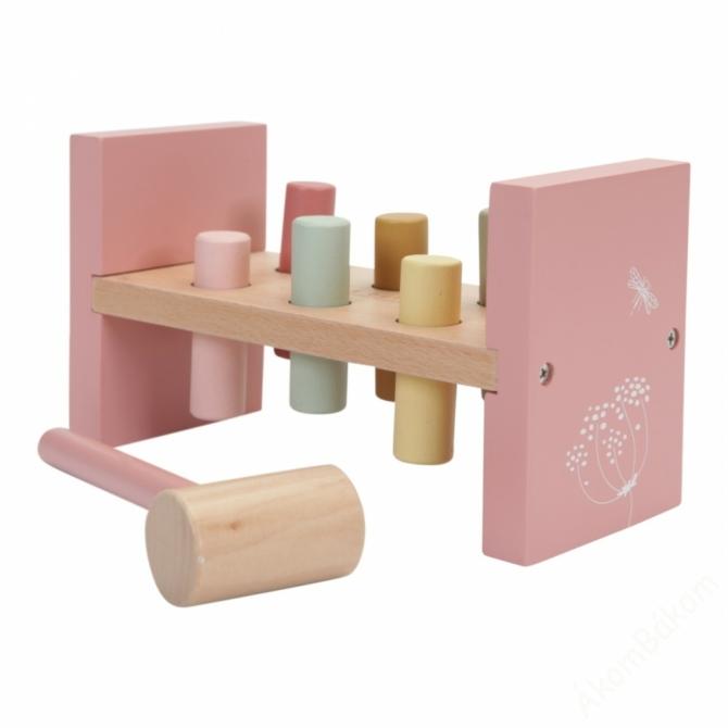 Little Dutch fa kalapálós játék - pink