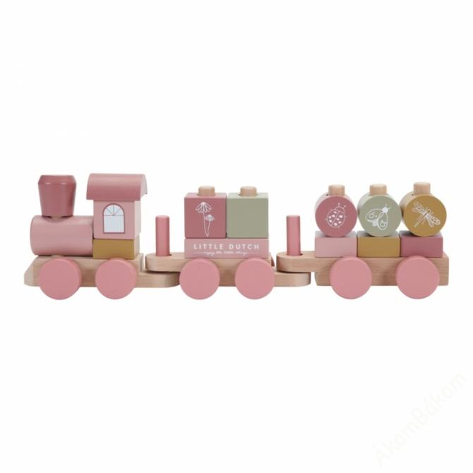 Little Dutch fa játékvonat - pink
